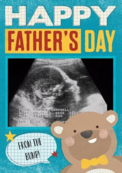 Bear With Speech Bubble Personalised Happy Father's Day From The Bump