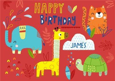 Baby Animals Happy Birthday Card