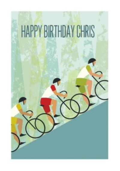 Cartoon Cyclists Climbing A Hill Personalised Happy Birthday Card
