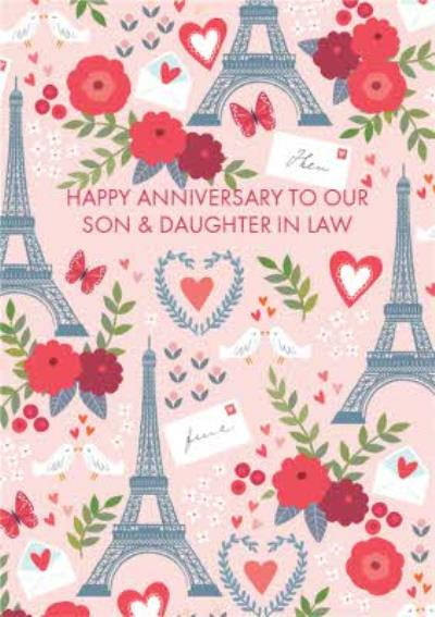 Paris French Romantic Parisian Personalised Happy Anniversary Card for our Son & Daughter in Law