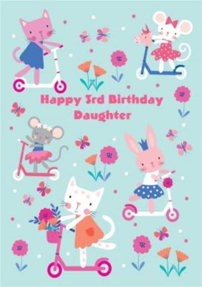 Skating Cats Daughter 3rd Birthday Card