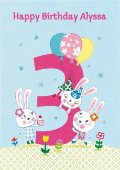 Playful Bunnies Happy 3Rd Birthday Card