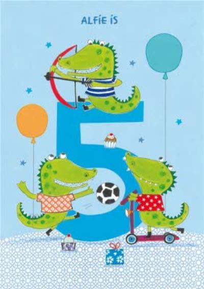 Crocodiles 5th Birthday Card