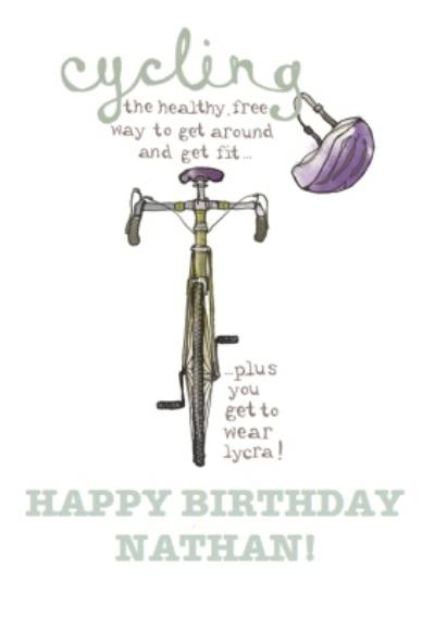 Illustrated Cycling Happy Birthday Card