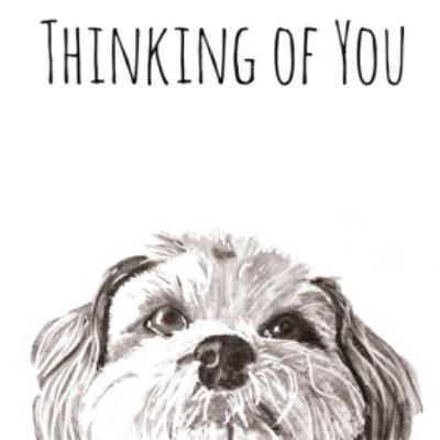 Illustrated Watercolour Dog Thinking Of You Card