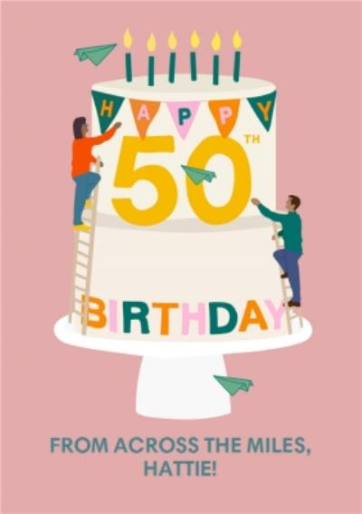 Pink Happy 50th Birthday From Across The Miles Card