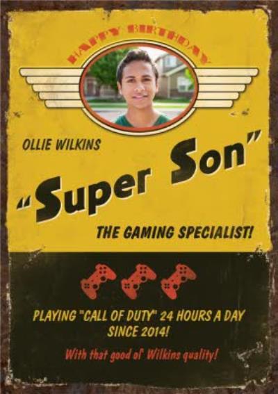 Retro Super Son Gaming Specialist Photo Upload Birthday Card