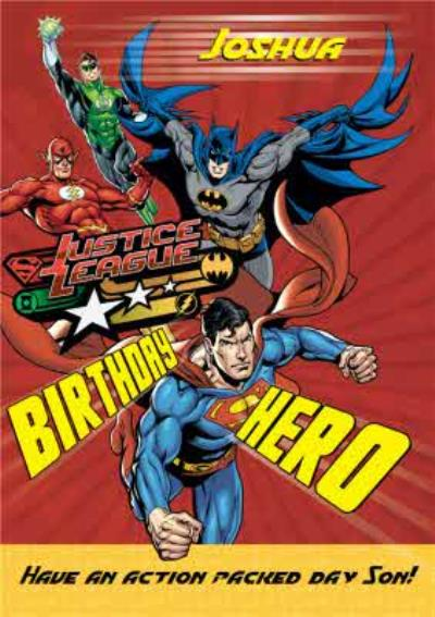 Justice League Heroes Personalised Happy Birthday Card