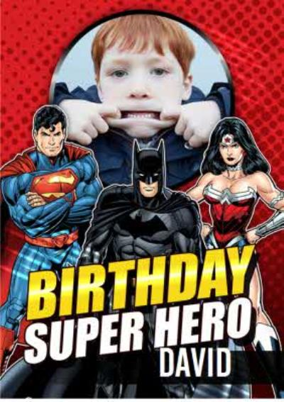 Justice League Birthday Super Hero photo upload card