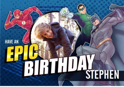 Justice League photo upload Epic Birthday card