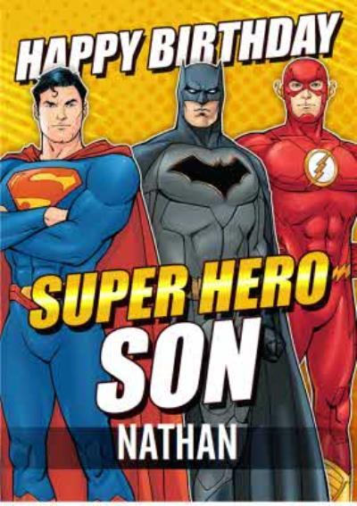 Justice League Super Hero Son Birthday card