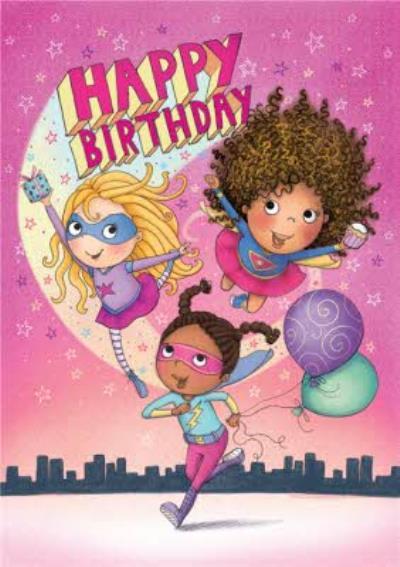 Fun Girl Superhero Birthday Card