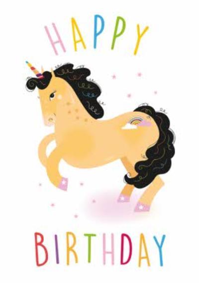 Cute Unicorn and Stars Birthday Card