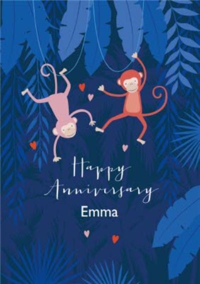 Cute Illustrative Monkey Anniversary Card