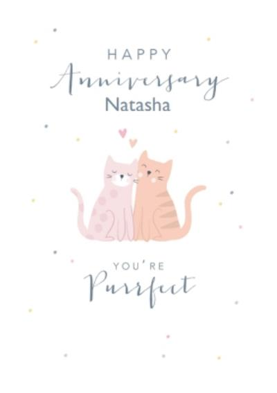 Cute Cat Polka Dot Anniversary Card