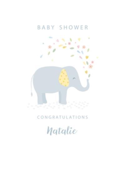 Cute Illustrative Elephant Baby Shower Card
