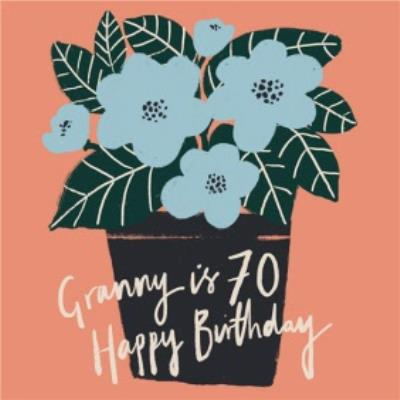 Illustrated Flowers Granny is 70 Happy Birthday Card