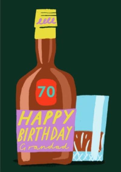 Illustration Bottle of Booze Happy Birthday Grandad Personalised Age Card