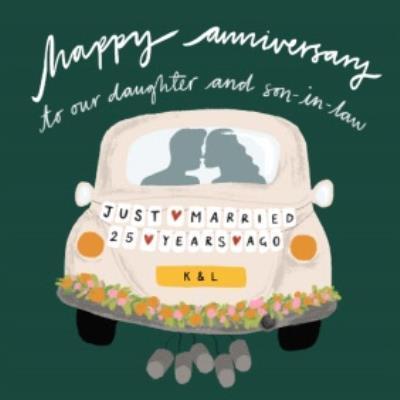 Katy Welsh Wedding Car Editable Just Married Happy Anniversary Card
