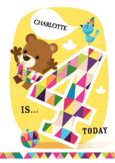 Balancing Bear And Friends Happy 4th Birthday Card