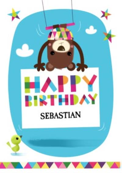 Trapeze Bear Personalised Happy Birthday Card