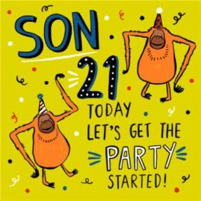 Son 21 Today Orangutans Dancing Birthday Card
