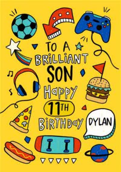 Pizza and Gaming To A Brilliant Son Happy 11th Birthday Card