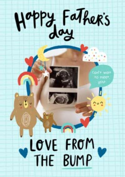 Illustrated Cute Happy Fathers Day Love From Bump Card