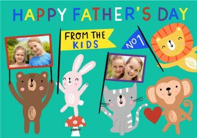 Cute Animals Happy Fathers Day From The Kids Card