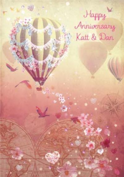 Hot air Balloon Anniversary Postcard For Friends