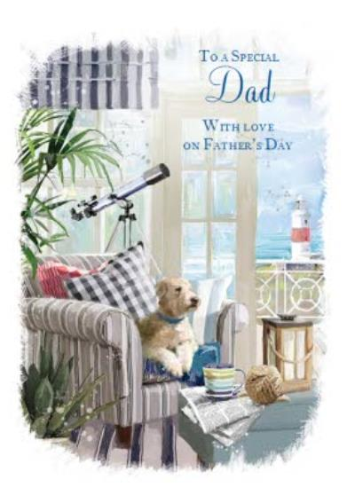 Puppy At The Seaside Father's Day Card