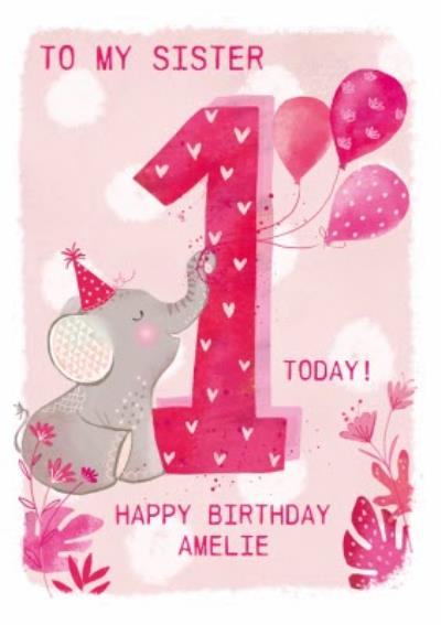 Party Elephant 1st Birthday Card For Sister