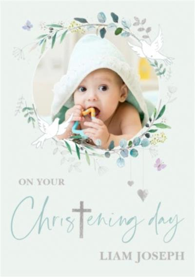 Christening Doves Photo Upload Card