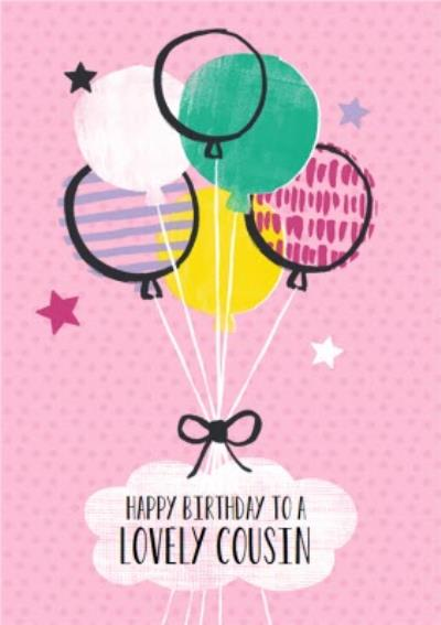 Pink Balloons Personalised Happy Birthday Card For Cousin
