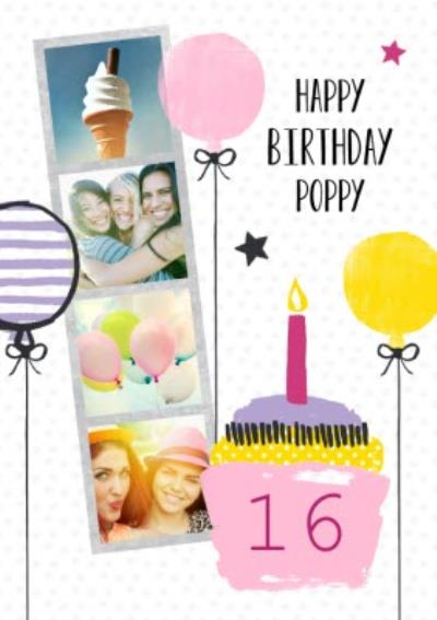 Cake And Candles Personalised Photo Upload Happy 16th Birthday Card