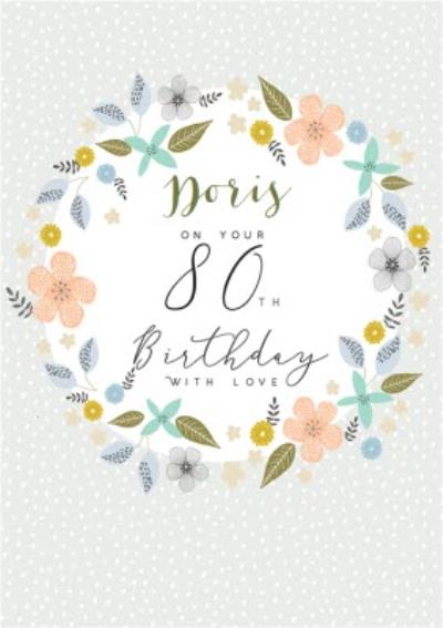 Floral 80th Birthday Card