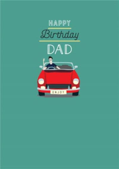 Traditional Illustrated Car Birthday Card