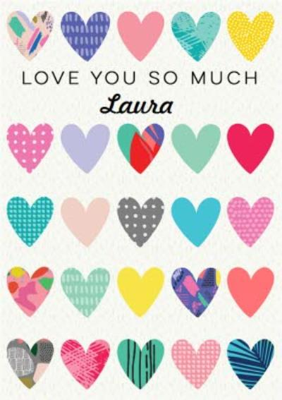Illustrated Love Hearts Love You So Much Valentine's Day Card