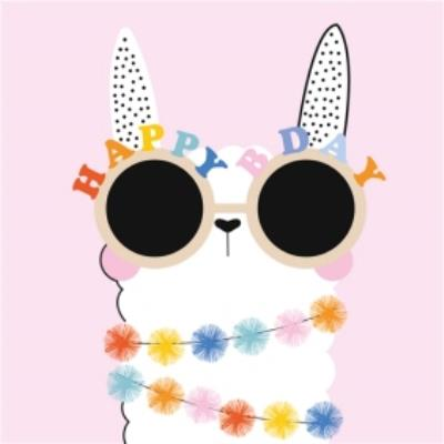 Cute Happy Bday Llama Card