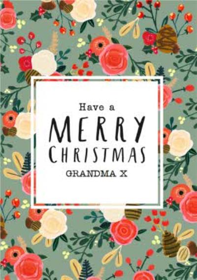 Pine And Flowers Personalised Merry Christmas Card For Grandma