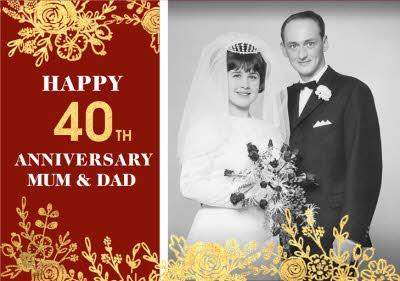 Gold Foiled Flowers 40th Ruby Anniversary Photo Upload Card