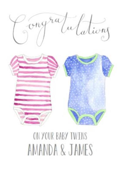 Traditional New Baby Congratulations Postcard For Twins