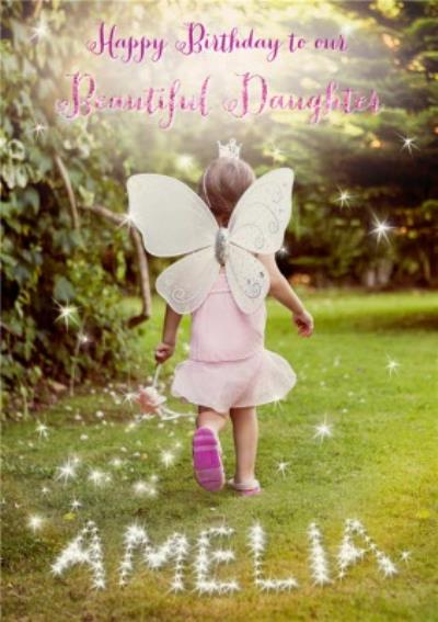 Fairy Girl In The Garden Personalised Happy Birthday Card For Daughter