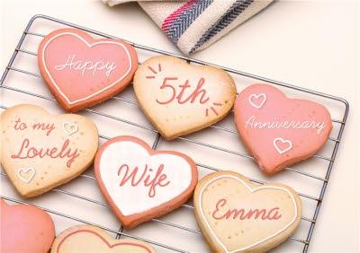 Heart Shaped Biscuits Personalised Happy Anniversary Card For Wife