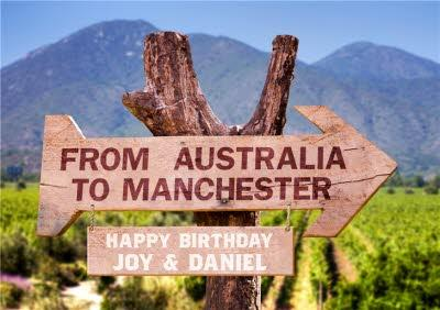 Personalised Australian Outback Signs Happy Birthday Card