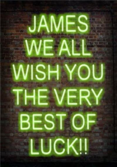 Neon Lights Best Of Luck Personalised Card