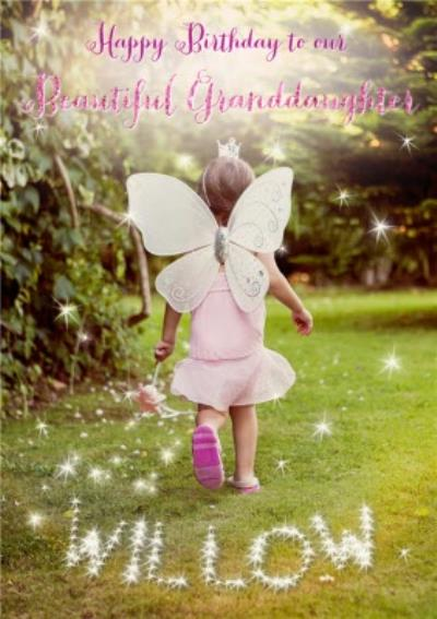 Fairy Girl In The Garden Personalised Happy Birthday Card For Granddaughter