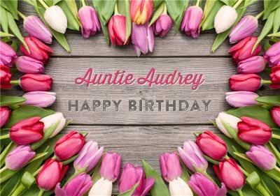 Limelight Personalised Tulip Auntie Birthday Card