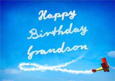 Sky Writing Grandson Birthday Card