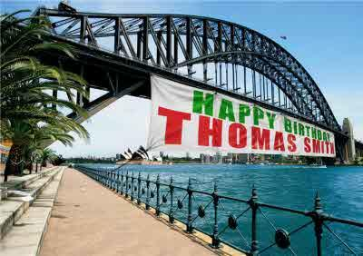 Sydney Harbour Bridge With Large Banner Personalised Happy Birthday Card